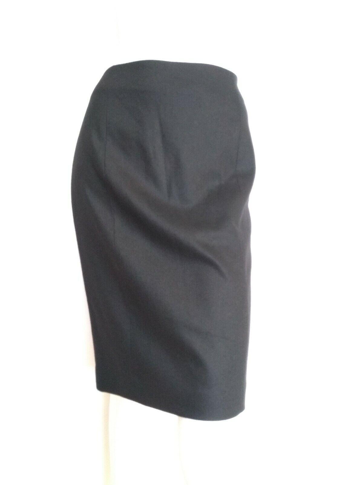 Designer JOSEPH Antonia Flanelle Jupe Taille 12 -- NEUF avec étiquettes -- Noir Longueur Genou