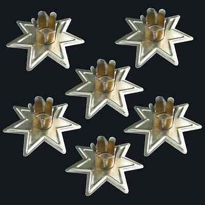 "Set of 6 Gold Fairy Star Chime Candle Holders for 4"" Mini Taper Six Pack Holder"
