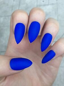 Image Is Loading Matte Royal Blue Press On Nails Fake