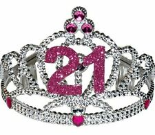 Plastic 21 St Birthday Party Tiara Gift Pink And Silver