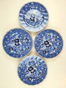 New-Set-of-4-Johnson-Brothers-England-Devon-Cottage-Blue-White-8-5-034-Salad-Plate