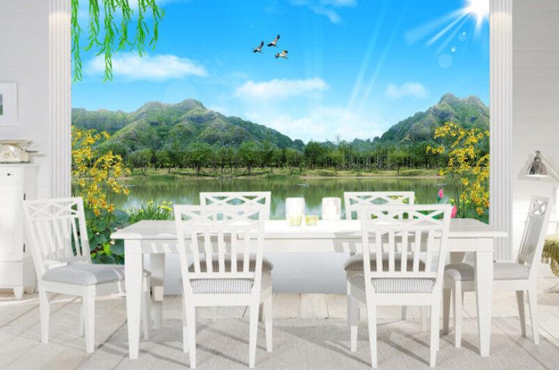 3D Landschafts Lotusteich 85 Tapete Wandgemälde Tapete Tapeten Bild Familie DE