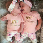 3Pcs Newborn Baby Girls Floral Outfit T shirt + Pants Leggings Clothes Hairband