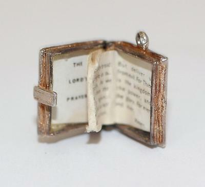 Vintage Opening Holy Bible Sterling Silver Bracelet Charm / Fold Out Prayer 3.3g