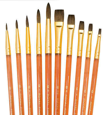 10 PURE SABLE ARTIST PAINT BRUSHES WATERCOLOUR BRUSH SET ROUNDS & SHADERS SVP6