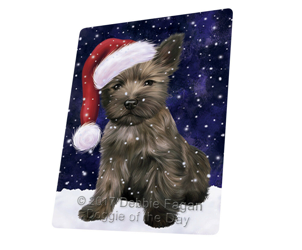 Let it Snow Christmas Holiday Cairn Terrier Hund Woven Throw Sherpa Blanket T62