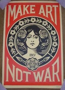 SHEPARD FAIREY poster MAKE ART NOT WAR obey giant offset art print signed
