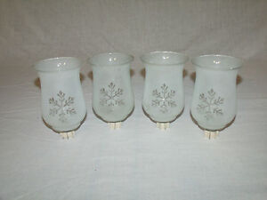 4 Satin Glass Vtg Home Interior Votive Cup Candle Holders