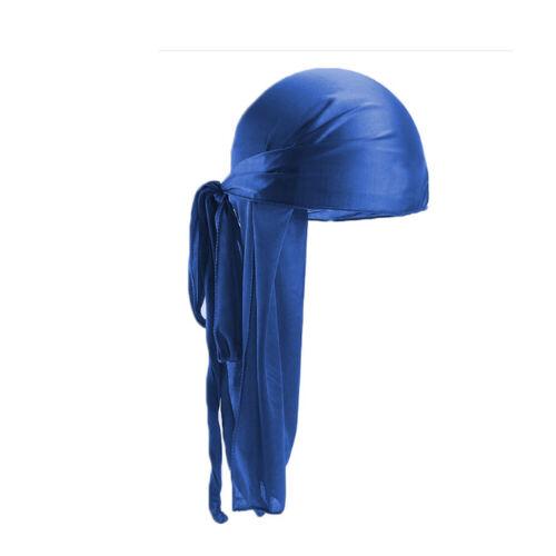 Unisex Silky Satin Durag Bandana Extra Long Tail Cap Turban Hat Biker Headwrap N
