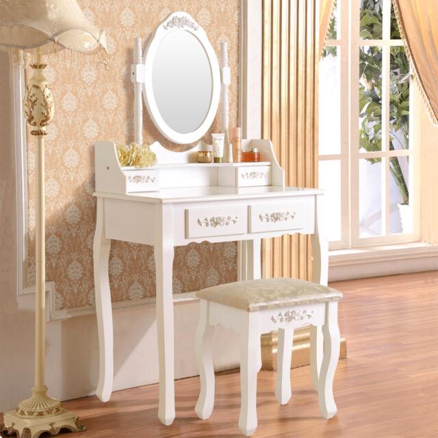 White Vanity Makeup Dressing Table Set With Stool 4 Drawer U0026 Mirror Wood  Desk