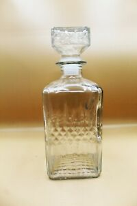Vintage Crystal Clear Glass Square Whiskey Liquor Decanter Bar Bottle w/ Stopper