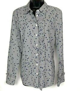 Equipment-Jesper-L-blouse-Star-Stripe-ruffle-blue-white-cotton
