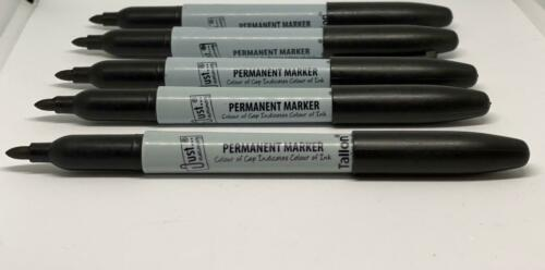 8 X PERMANENT BLACK MARKER PENS BULLET TIP PEN WATERPROOF QUALITY PROOF ATTACHED