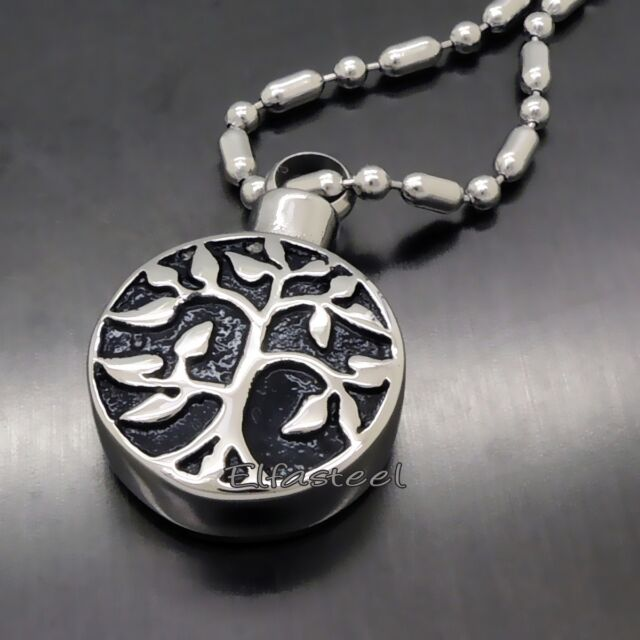 Tree of Life Cremation Keepsake Memorial Urn Stainless Steel Pendant Necklace