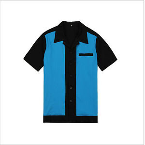 Mens-Rockabilly-Bowling-Shirts-50s-60s-Style-Punk-Metal-Party-Clubwear-Clothing