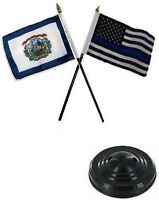 West Virginia State & Usa Police Blue 4x6 Flag Desk Set Table Stick Black Base