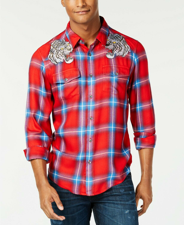 GUESS Men's Splatter Red Tiger Plaid Slim Fit Shirt Size L