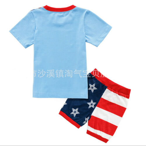 2PCS Kids Boy Captain America Casual Sleepwear Pyjamas Matching Set Outwear 1-8Y