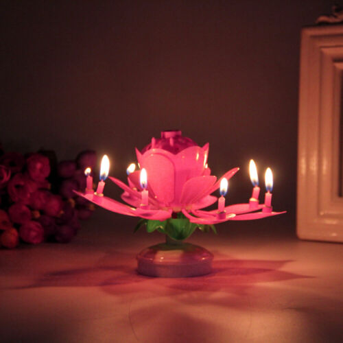 Details about  /Musical Blooming Lotus Floral Candle Rotating Innovative Party Birthday Cake US