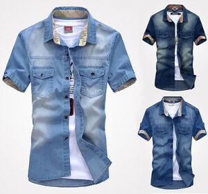 New-Men-039-s-Jeans-Short-Sleeve-Casual-Slim-Stylish-Wash-Vintage-Denim-Shirts