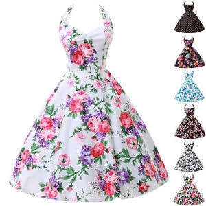Spring-STOCK-ROCKABILLY-Vintage-1950s-60s-style-Floral-Party-Prom-Swing-dress-1