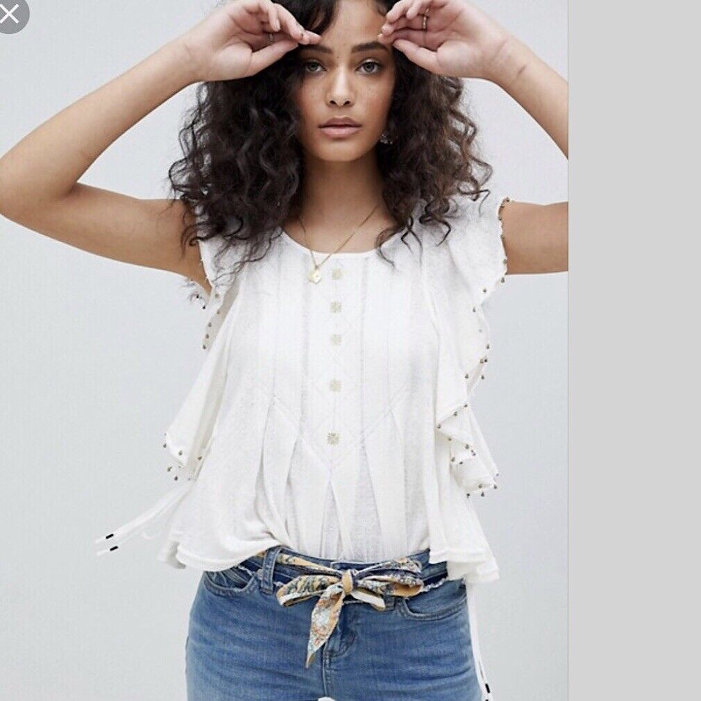 NWT Free People Tiny Bells Tank Top Tee Ivory Extra Small XS  OB805477