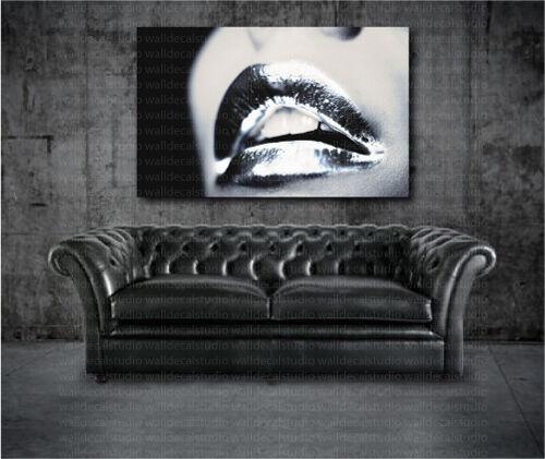 Silber Lips Modern Canvas Art Poster Print Home Wall Decor