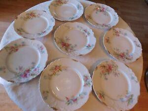 8-assiettes-dessert-C-Ahrenfeldt-Limoges-16-cm-decor-floral-dorures