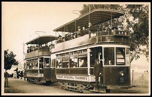 TASMANIA • Early 1900's Real Photo Kodak Postcard • Hobart Double Deck Tram