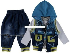 Baby-Jeans-Set-Hose-Weste-Shirt-Anzug-3-Teile-Gr-92