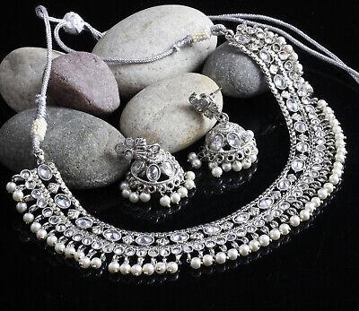 Indian Bollywood Gold Plated Antique Wedding Polki Kundan Necklace Earrings Set