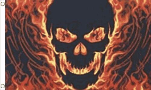 Flaming Death Fiery Skull Dark Fantasy 5/'x3/' Flag