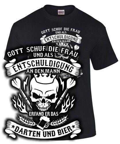 T-Shirt Darts DARTEN BIER FRAU ENTSCHULDIGUNG Gott Dartspieler Motiv Spruch fun
