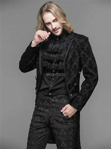 Devil Fashion Mens Long Gothic Coat Jacket Black Velvet Steampunk Aristocrat VTG