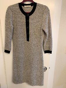 BALENCIAGA Gray Striped Wool Button Detail Sweater Dress Size 6 (FR 38) RP$1895