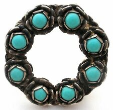 Sterling Silver Brooch Turquoise Gemstones 925 Vintage Flower Wreath Pin Jewelry