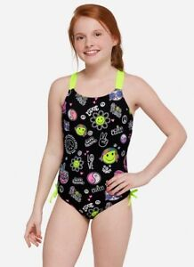 Details about Justice Girls Sz 10 Peace & Love Emoji Black/Neon Yellow  One-Piece Swimsuit NEW