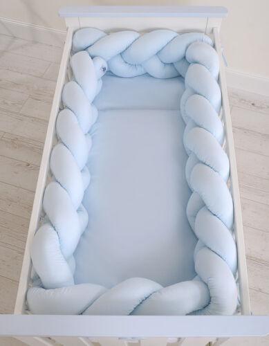 Geflochtenes Nestchen Kopfschutz für Kinderbett XXL einfarbig blau