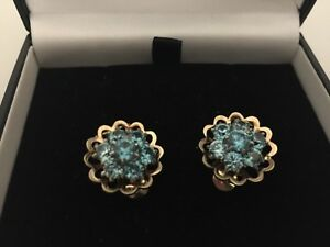 Stunning-9ct-Yellow-Hallmarked-Gold-Blue-Stone-Flower-Cluster-Earrings-Clip-On