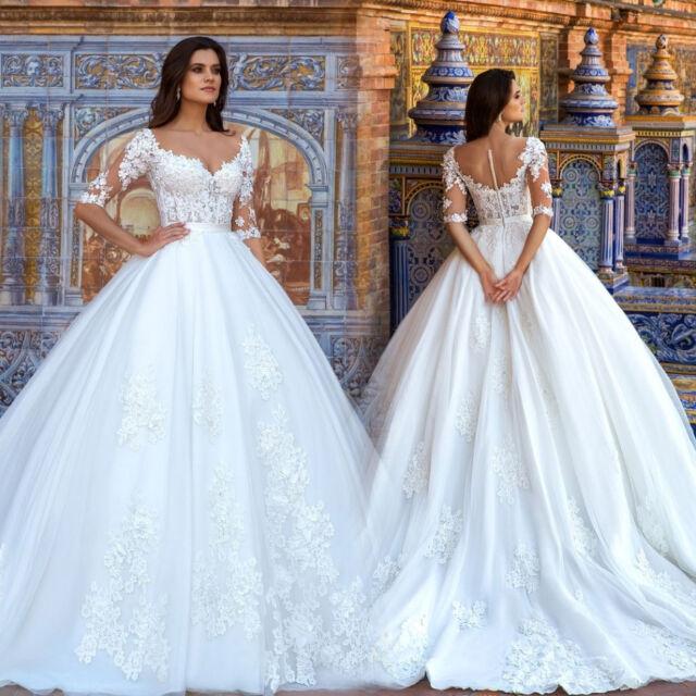 Vintage Half Sleeve Wedding Dresses 2018 Applique Dress Ball Gowns ...