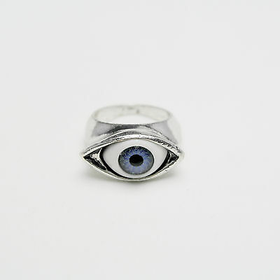 Vintage Antique Silver Blue Eye Charm Ring Size O