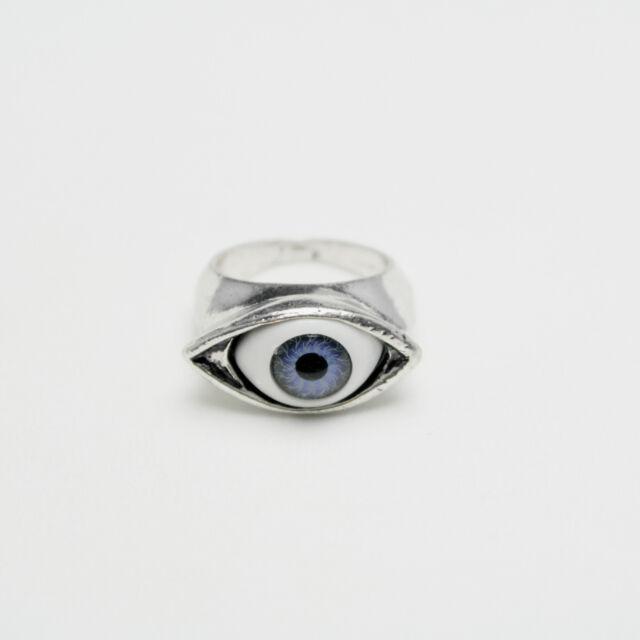Vintage Antique Silver Blue Eye Charm Ring Size O