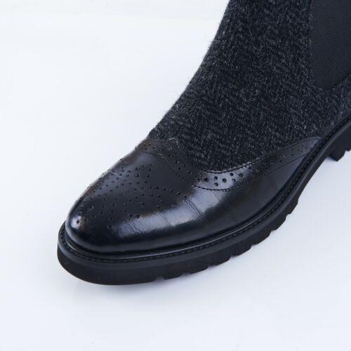 Neige Paw Femmes Harris Tweed /& Cuir Chelsea Bottes Noir