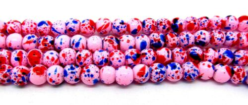 Splashes of Blue /& Red Drawbench P00220XD 200 Pink Glass Round 4mm Beads