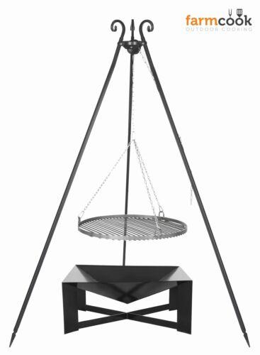 DREIBEIN SCHWENKGRILL+GRILLROST ROHSTAHL Ǿ60 CM+FEUERSCHALE PAN 34 70x70 E00769