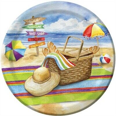 Breezy Beach 7 Inch Paper Plates Drinks Beach Picnic Summer Party Decorations