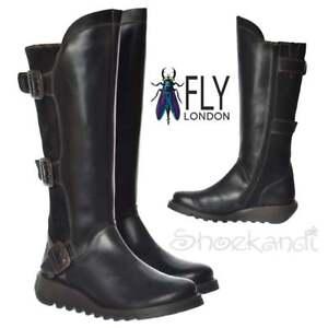 Donna zeppa basse inverno Fly pelle SYND al London stivali ginocchio zzwqrB1