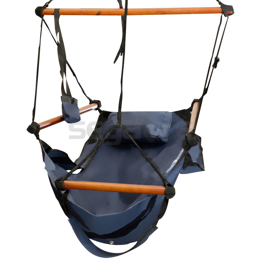 new deluxe hammock hanging chair air sky indoor outdoor chair solid wood in blue new deluxe hammock hanging chair air sky indoor outdoor chair      rh   ebay
