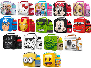 Kids-Children-Insulated-3D-Lunch-Bag-Box-And-Drink-Bottle-Set-Sport-Water-Pack