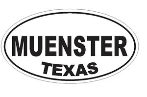 Muenster Texas Oval Bumper Sticker or Helmet Sticker D3650 Euro Oval